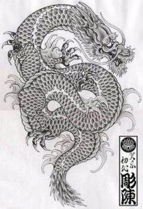 Tatuaże japońskie projekt smoka