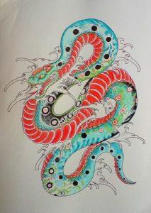Tatuaże japońskie projekt węża