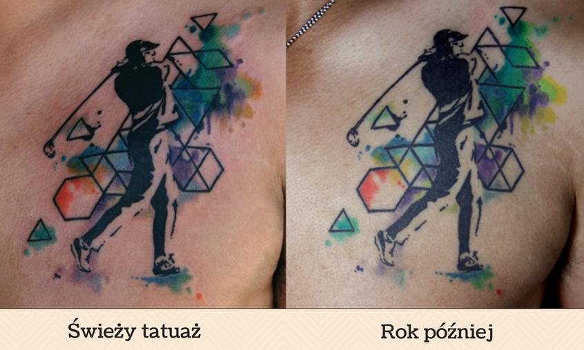 Grafika przedstawiająca świeży tatuaż akwarelowy i rok po jego wykonaniu.