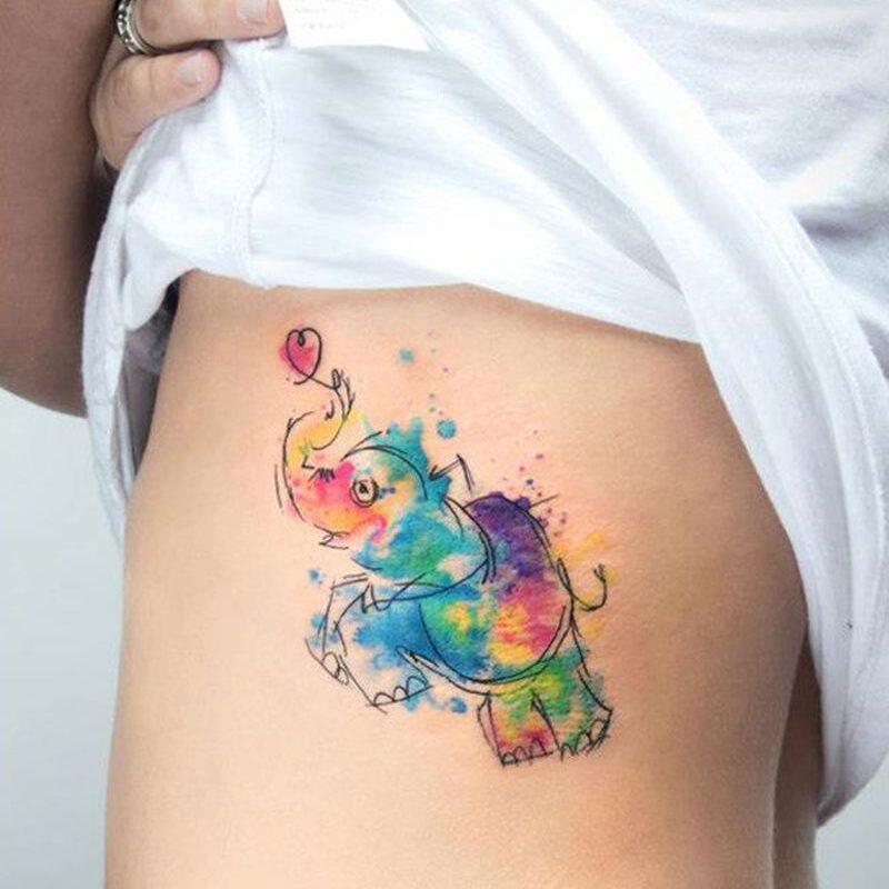 Tatuaż akwarela przedstawiający słonia